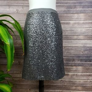 J. Crew Stardust Silver Sparkle Pencil Skirt S 4